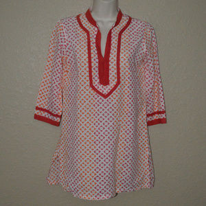 Sz XS Roberta Roller Rabbit Orange White Tunic